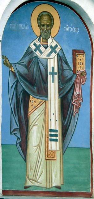 Образ Святителя Николая Чудотворца на стене Никольского храма